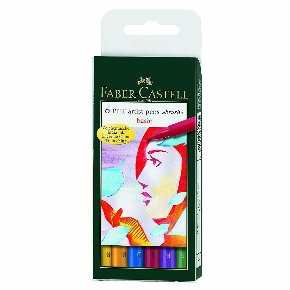 FABER CASTELL PITT ARTIST BRUSH PENS BASIC 6 PEN SET FC167103